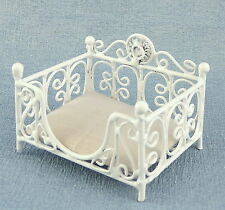 Melody Jane Dolls Houses Prince or Princess Dog Cat Bed Basket White Accessory