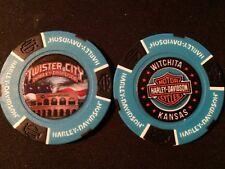 "Harley Golf Ball Marker Poker Chip (BIKER Blue) ""Twister City"" Wichita KS ERROR"