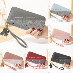 Damen Geldbörse Leder Groß Geldbeutel Portemonnaie mit Handyfach Brieftasche