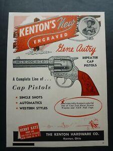 RARE Vtg 1950 DEALER Ad - Kenton Gene Autry Cap Gun Pistol Western 1950's