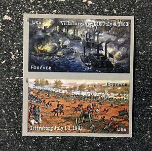 2013USA #4787-4788b Forever Civil War 1863 Gettysburg Vicksburg - Pair  (IMPERF)