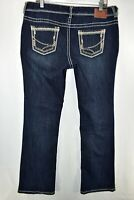 Maurices Straight Slight Bootcut Jeans Womens Size 13/14 Reg Blue Meas. 35x32.5