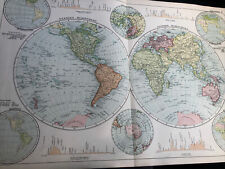 More details for 1900: very large map of the world western & eastern hemisphere original antique