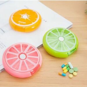 1 X Cute Rotary 7 Days Round Pill Box Dispenser Kids Candy Gum Storage Case