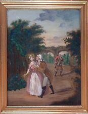 Ecole française dans le goût du XVIIIè.Le galant cavalier.Huile/panneau.37x28.