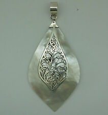 z 925 Sterling Silver Mother Of Pearl Pendant - New - Handmade Ethenic Design