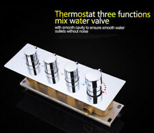 Chrome Brass Thermostatic 3-Function Brass Shower Valve with 4 Trims Handles