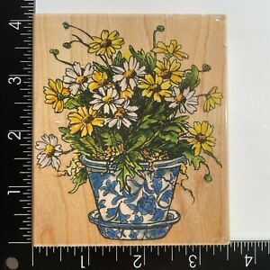 Penny Black Blooming Daisies 1177K Wood Mounted Rubber Stamp Flowers in Pot