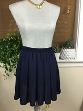 Brandy Melville Navy Blue Sheer Rayon Skater Skirt one size Elastic waistband