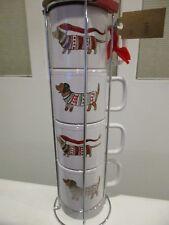 Dachshund 4 Large Stackable Mugs Christmas Holiday Santa Sweater Set Rack New
