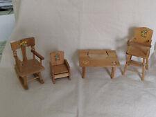 vintage wooden Ginny doll furniture. Nice collection of maple furniture.