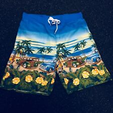 Big Dogs Mens XL Swim Suit Trunks Woody Wagons Hibiscus Palm Trees Board Shorts