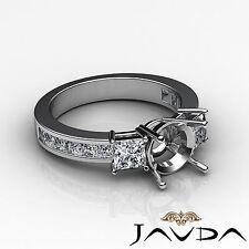 Three Stone Diamond Wedding Ring 14k White Gold Princess Round Semi Mount 1.1Ct