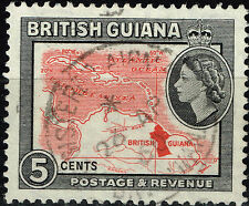 British Guiana Colonial country map stamp 1960