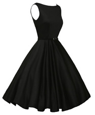Women Black Vintage Bodycon Sleeveless Casual Evening Party Cocktail Prom Dress