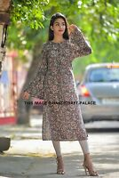 Women Cotton Kurta Kurti Floral Designer Indian Striaght Ethnic Printed Tunic