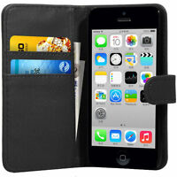 Black Flip Wallet Leather Case Cover For Apple iPhone 5C FREE Screen Protector