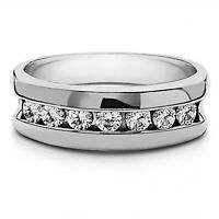 0.50 Carat Real Diamond Engagement Band 14K Solid White Gold Mens Ring Size 9 10