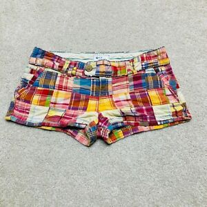 American Eagle Shorts Womens 6 Patchwork Plaid Indian Madras Low Rise Multicolor