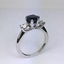 Platinum RITANI Natural Blue Sapphire Round Diamond 3 Stone Engagement Ring