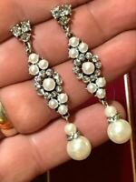 Vintage Style Victorian Drop Dangle Earrings White Pearls Crystals Bridal