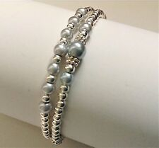 2 x SILVER GREY GLASS PEARL SILVER STRETCH STACKING BRACELET SET
