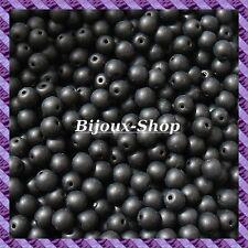 400 Perles de verre 5mm Noir Mat