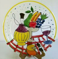 """Made In Italy Hand Painted Plate Textured Glass 14 3/4"""" Diameter"""
