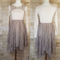 Women's RYU Tulle Lace Dress Tea Party Holiday Ivory Brown ModCloth Anthro small