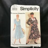 Vintage 1991 Sewing Pattern SIMPLICITY Petite 2 Piece Dress #7371