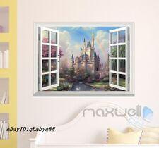 Disney Fairy Castle Rainbow 3D Window Wall decor Removable Stickers Kids decals
