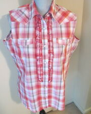 Womens Large Wrancher By Wrangler Sleeveless Pearl Snap Plaid Top Blouse