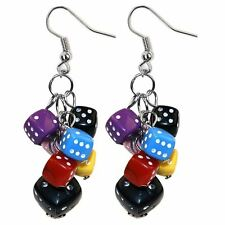 Funky Colourful Lucky Playing Dice Bunch Drop Earrings by Joe Cool - Kitsch
