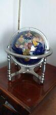 More details for limited xl blue lapis semi precious gemstone worldglobe zinc/alloy stand&compass