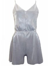 Ladies ex-Topshop Metallic Silver Pleated V Plunging Strappy Playsuit size  6-14