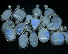 100pcs Rainbow Moonstone Gemstones Pendants 925 Sterling Silver Plated Wh-15