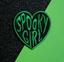 Spooky Girl Patch Iron On Sew green heart Gothic Emo Mystic Pagan Halloween