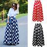 Women Polka Dot Party Vintage 50s Rockabilly High Waist Pleated Skirt Long Maxi