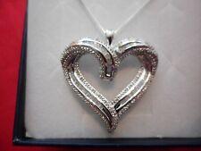 "Round & Baguette Open Heart Pendant in 925 Sterling w/18"" Chain"