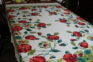 Fab Vintage Startex Cotton Kitchen Tablecloth Poppies 54x64