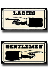 LADIES AND GENTLEMEN TOILET METAL SIGNS, RETRO, VINTAGE STYLE, NOTICE, SIGN