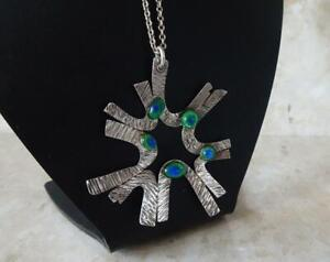 1960s MODERNIST ABSTRACT SILVER PENDANT & CHAIN + PEACOCK EYE FOIL GLASS STONES