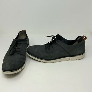 Clarks Men's Gray Suede Micro Fiber Casual Lace Up Sneakers Shoes 13