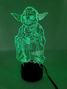Engraved Acrylic 3D Star Wars Master Yoda Multicolor Novelty Lamp Light EUC
