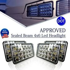 4sets DOT 4x6'' inch LED Headlights Rectangle Sealed Beam Hi/Lo Assembly Black