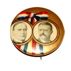 """1900 WILLIAM MCKINLEY TEDDY THEODORE ROOSEVELT 7/8"""" pin pinback button political"""