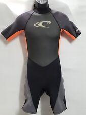 O'NEILL HAMMER WETSUIT SHORT SLEEVE SHORTS BLACK GREY ORANGE SCUBA SURFING SZ 16