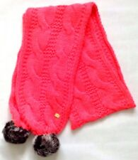 Lipsy Scarves Knitted Pink Pom Pom One Size