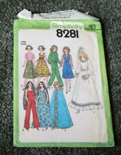 """1977 Simplicity Sewing Pattern #8281 For 11 1/2"""" Barbie Dolls Uncut!"""