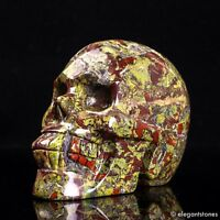 772g Large Natural Dragon Blood Stone Quartz Crystal Hand Carved Skull Healing